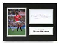 Clayton Blackmore Signed A4 Photo Display Man Utd Autograph Memorabilia COA