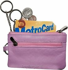 Leather change purse, Coin purse. Zip coin wallet, 2 pocket coin case w/key ring