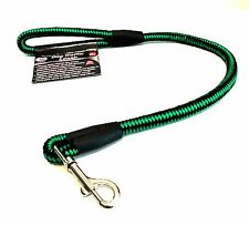 Dog Traffic Leash Heavy Duty Nylon Green Black 27 inches Long Stainless Hook IIT
