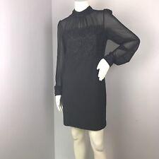 Double Zero Womens Black Sheer Top Lace Detail High Collar Sheath Dress Size L