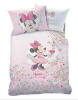 OFFICIAL DISNEY MINNIE MOUSE SINGLE DUVET QUILT COVER SET GIRLS PINK BEDROOM BED