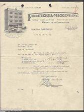 VTG ILLUSTRATED COMMERCIAL LETTER / FERRETERIA MERINO / SJ PUERTO RICO 1940 RARE