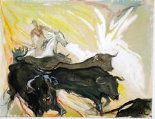 Grande aquarelle 1965 manade camargue Taureau Cheval signature?