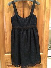 New DOLCE & GABBANA Black Cotton Linen Floral Eyelet Lace A Line Dress Size 42