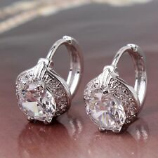 Vogue style 18k white gold filled HOT white sapphire leverback earring