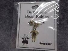 November Baby Birthstone Bead Babies Necklace Pendant Gold Tone Triangle Body