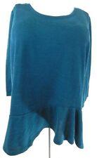 Lane Bryant Women's 22 24 Top Sweater Knit Green 3/4 Sleeve Peplum Plus Size EUC