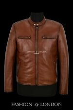 RACER Leather Jacket For Men Chestnut Napa Classic Bikers Fashion Casual Wear