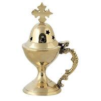 Small High Polished Brass Christian Orthodox Home Incense Burner Censer 10 cm