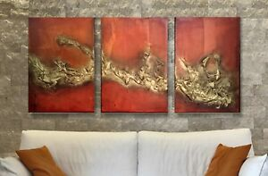 Rare Original Triptych Abstract Art Mixed Media on Boxed Canvas 3 large canvas