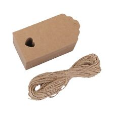 100 pcs Kraft paper Empty card Hand drawing Gift Label Tags Hearts Hollow b X5G4