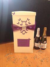 Personnalisé mariage carte post box-purple heart papillons