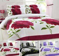 New Printed ROSALEEN FLOWER Teddy Fleece Duvet Cover Set Cosy Warm Soft Bed Set
