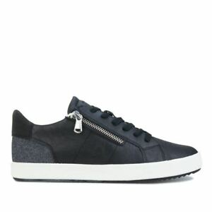 Women's Geox Blomiee Lace up Side Zip Breathable Trainers in Black