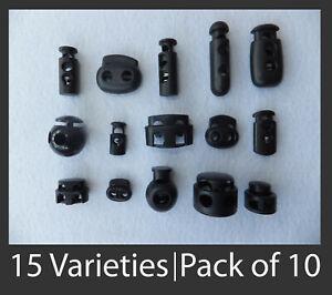 Pk of 10 CORD LOCKS - 15 Varieties to choose from - Small to Big - zip fastener