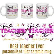 Best Teacher Ever Personalised Tea/Coffee Ceramic Mug Teacher BUTTERFLY PINK