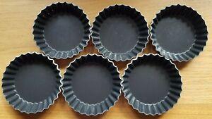 6 X French Metal Fluted Tart Patisserie Baking Tins Cooking Kitchenalia Bake Off
