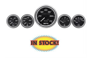 AutoMeter E7500 - Equus E7500 5 Piece Gauge Kit Black Background