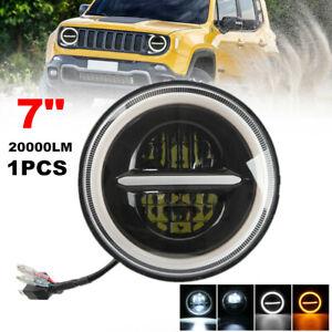 "1PC 7"" Round Halo Angel Eyes Aperture LED Headlight for Jeep Wrangler Motorcycle"