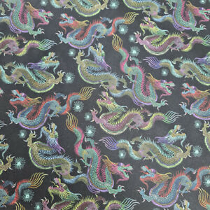 Crafty Cotton Chinese Dragon Fabric Mythical Fantasy Folklore Oriental 100% UK