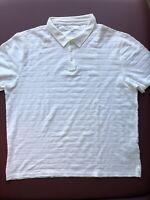 John Varvatos STAR USA Men's XL White Textured Short Sleeve Polo Shirt MSRP $98