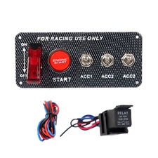 Carbon Ignition Switch Panel Engine Start Push Button LED 12V Toggle Racing Car