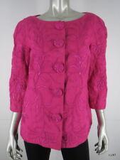 Carmen Marc Valvo Jacket Blazer Size 10 M Linen Pink Floral Embroidered 3/4 Slv