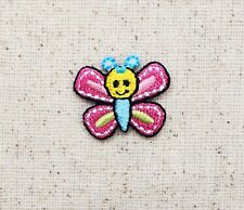 Small/Mini Butterfly Pink/Blue Smiley Face - Iron on Applique/Embroidered Patch