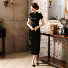 New Luxurious Cherry Blossom Black Chinese Long Dress Cheongsam Qipao lcdress16