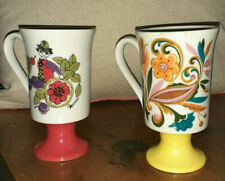 (2) Vtg Arnart PSYDELIC CORSICA  Mugs Mid-Century Pedestal Coffee Cups 2636 2466