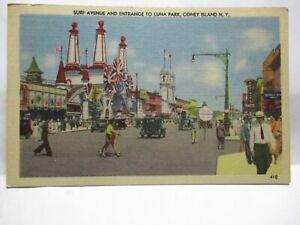 "1940 POSTCARD "" SURF AVE ENTRANCE TO LUNA PARK CONEY ISLAND NY "" AMUSEMENT PARK"