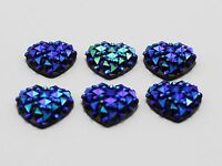 100 Deep Blue Flatback Resin Heart Cabochon Gems Pyramid Dotted Rhinestone 12mm