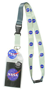 "NASA ID Lanyard Badge Holder Classic Logo With 2"" Rubber Charm Pendant"