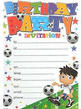 20 X Fútbol Niños hojas de invitación de Fiesta de Cumpleaños & SOBRES