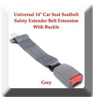 """Grey Universal 14"""" Car Seat Seatbelt Safety Extender Belt Extension With Buckle"""
