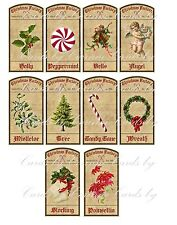 Christmas bottle labels10 holly bells angel wreath glossy adhesive paper