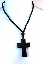 ELEGANT BLACK CROSS VINTAGE STYLISH MULTI BEADED NECKLACE FAST DELIVERY NEW (A3)