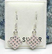 NEU 925 Silber 25mm OHRHÄNGER rosa STRASSSTEINE crystal/kristallklar OHRRINGE