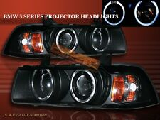 92-98 BMW E36 3 SERIES 2 DOOR COUPE TWO HALO PROJECTOR BLACK AMBER HEADLIGHTS