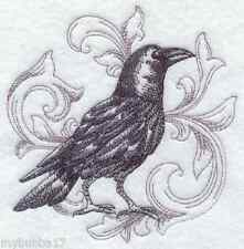 Crow In Blackwork Design Set Of 2 Bath Hand Towels Embroidered By Laura