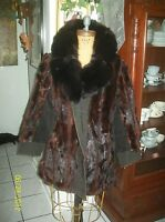 vintage fire red auburn mink fur & black fox fur collar & suede coat m/l