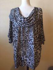 Isabella Rodriguez S/S Drape Neck Brown Tan Black Animal Print Top Size 3X EUC