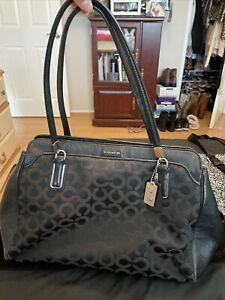 Coach Signature Duffle Black Shoulder Bag Handbag (Pre Owned)