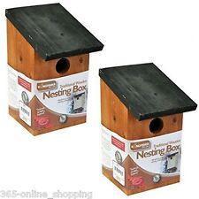 2x Nidificazione in Legno Nido Uccello BOX Bird House piccoli uccelli blu tit Robin Sparrow