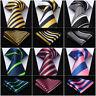 """HISDERN Woven Men Tie Stripe 3.4""""SilkNecktie Wedding Handkerchief Set#RS1"""