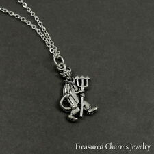 Silver Devil with Pitchfork Charm Necklace - Satan Evil Pendant Jewelry NEW