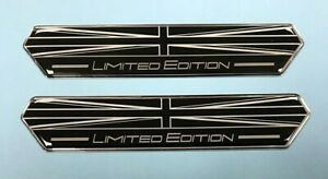 2 x Union Jack Limited Edition Black & White 100mm Stickers - GLOSS DOMED GEL