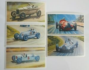 Collectible 1971 Trading - Mobil - The Story Of Grand Prix Motor Racing 5 Cards