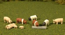 New Bachmann HO Scale Scenescapes Nine Pigs and Feed Trough