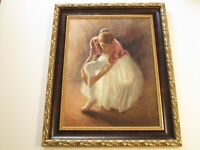 LARGE SALVATORE RODRIGUEZ PAINTING BALLET DANCER PRETTY WOMAN FEMALE GIRL MODEL